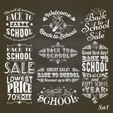 Back to School sale and party vintage labels on blackboard Royalty Free Stock Photography