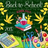Back to School vector sale promo sketch poster. Back to School sale poster of school bag and lesson stationery for September promo offer. Vector sketch school Royalty Free Stock Photo