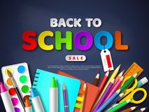 Back to school sale poster with realistic school supplies. Paper cut style letters on blackboard background,vector. Back to school sale poster with realistic stock illustration