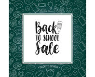 Back To School Sale poster. Vector hand lettering in frame. Children education background. Knowledge day design concept Stock Photos