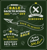 Back to school sale promotional badge and labels Stock Photos