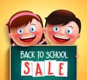 Back to school sale for school promotion written in chalkboard. Holding by cute boy and girl happy kids vector characters in yellow background. Vector Royalty Free Stock Photos