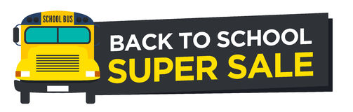 Back to School Sale Sign. With Schoolbus Stock Photos