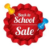 Back to school sale. Sticker with pushpins. Royalty Free Stock Images