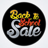 Back to school sale text. On dark circle background graphic vector Royalty Free Stock Images
