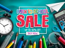Back to school sale vector banner design for discount promotion with school supplies. Education elements and sale text in textured background. Vector royalty free illustration