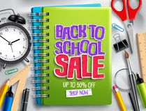 Back to school sale vector banner discount promotion design with sale text. And school and education elements in white background. Vector illustration stock illustration