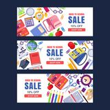 Back to school sale vector banner template. Education backgrounds set with stationery supplies. And place for text royalty free illustration