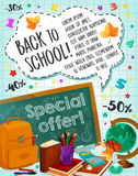 Back to School sale vector checkered page poster. Back to School poster for September seasonal sale or special offer promo for study stationery supplies. Vector Royalty Free Stock Photos