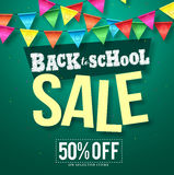 Back to school sale vector design with colorful streamers hanging stock illustration