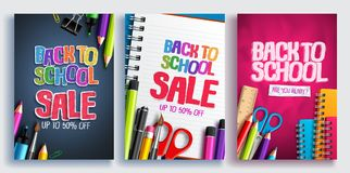 Back to school sale vector poster design set with colorful school supplies, educational items. And sale text for shopping discount promotion. Vector stock illustration