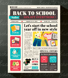Back to School Sales Promotional Design Template in Newspaper Royalty Free Stock Images