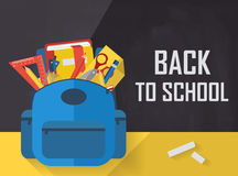 Back to school with school bag and accessories flat Stock Photography