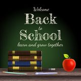 Back to school, school books. EPS 10. Back to school, school books with apple on desk. EPS 10 vector file included Stock Photos