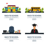Back to School. School bus. Suit. School Costume. Set illustration. Vector illustration. Stock Photos