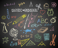 Back to school - school doodle illustrations. Back to school - set of school doodle illustrations on blackboard vector illustration