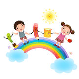 Back to school. School kids over rainbow royalty free illustration