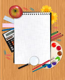 Back to school. School notebook with supplies Royalty Free Stock Photos