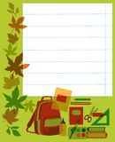 Back to school. School notebook with supplies. Stock Photography