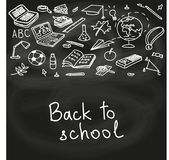 Back to school, hand drawn set color sketch, doodle, vector. Chalk board style. Stock Image