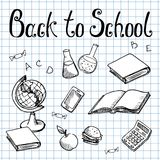 Back to school. School subjects on the graph paper Stock Photo