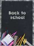 Back to school, school supplies. School supplies on balckboard, back to school Royalty Free Stock Photos