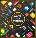 Back to school. School supplies on blackboard background. Stock Images