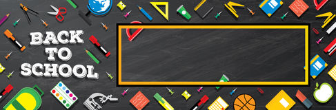 Back to school. School supplies on blackboard background. Stock Image