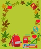 Back to school. School  supplies on green Royalty Free Stock Photo
