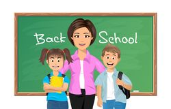 Back to school, School teacher with schoolchildren. Vector illustration of Back to school, School teacher with schoolboy and schoolgirl Royalty Free Stock Images