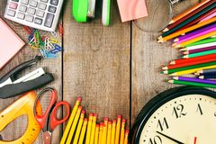 Back to school. School tools around. Stock Photo