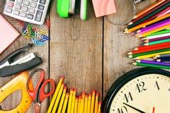 Back to school. School tools around. stock photo