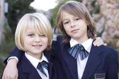 Back to school in school uniform Royalty Free Stock Images