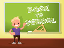 Back to school. Schoolboy at the blackboard. Vector illustration Royalty Free Stock Photos