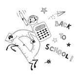 Back to school. Schoolboy endearing knowledge. Vector illustration Royalty Free Stock Photo