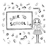 Back to school. Schoolgirl at the blackboard. Vector illustration Stock Images