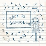 Back to school. Schoolgirl at the blackboard. Vector illustration Royalty Free Stock Photography