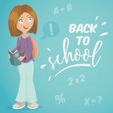 Back to school. Schoolgirl with book. Royalty Free Stock Photo