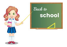 Back to school. Schoolgirl with book near the board, on white background vector illustration