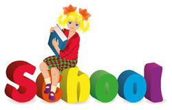 Back to school. Schoolgirl with books Stock Photos