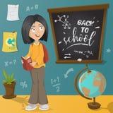 Back to school. Schoolgirl, chalkboard and school supplies. Royalty Free Stock Photos