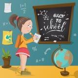 Back to school. Schoolgirl, chalkboard and school supplies. Stock Photography