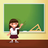 Back to school. Schoolgirl meets at the blackboard.. Vector illustration of a flat design Stock Image