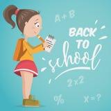 Back to school. Schoolgirl with notebook. Stock Image