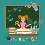 Back to school schoolgirl in a school board astronomy physics Royalty Free Stock Photos