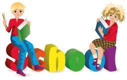 Back to school. Schoolgirl and schoolboy.  Stock Image