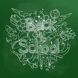 Back to School Scribbles on a Green Chalkboard. Royalty Free Stock Photography