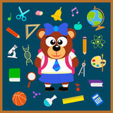 Back to school seamless background with bear Stock Photography
