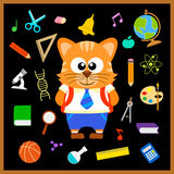 Back to school seamless background with cat Royalty Free Stock Photography