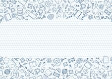 Back to School seamless chalk drawn icon pattern. School supplies doodle icons border. Education symbols line art background